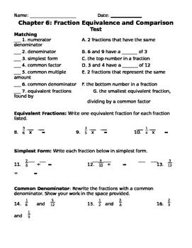 Fractions Test - Upper Elementary