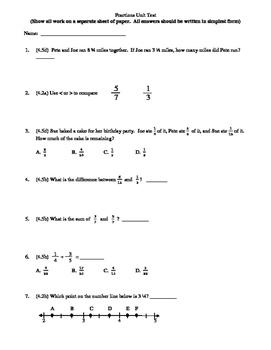 4th Grade Fractions Unit Test