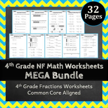 4th Grade Fractions Worksheets: 4th Grade Math Worksheets,