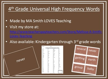 4th Grade High Frequency Sight Word Pack - PP, List, and Cards