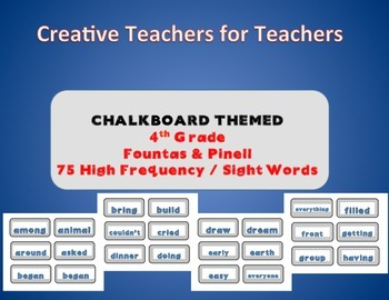 4th Grade High Frequency Sight Words - Chalk Themed
