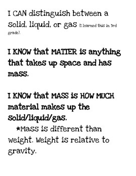 4th Grade I CAN Statements on MATTER