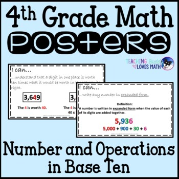 Math Posters Number and Operations Base Ten 4th Grade Comm