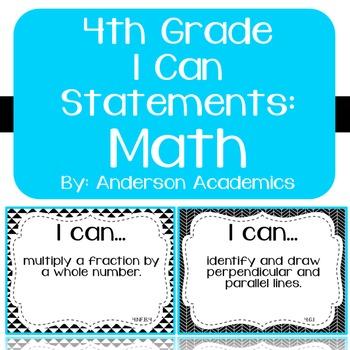 "4th Grade ""I Can"" Statements: Math - Black & White"