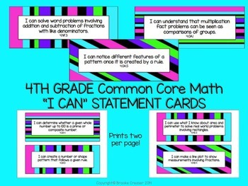 "4th Grade ""I Can"" Statements for Common Core Math"
