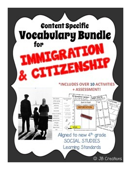 4th Grade Immigration Content Specific Vocabulary Activity