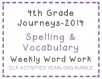 4th Grade Journeys 2014 Spelling Vocabulary ELA Activity Y