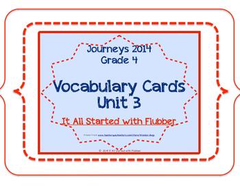 4th Grade Journeys 2014 Unit 3 Vocabulary Card Bundle for