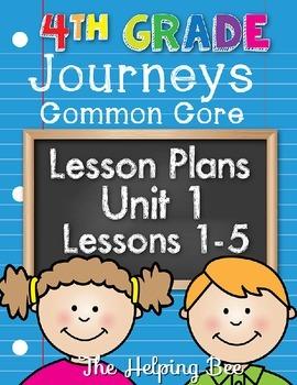 4th Fourth Grade CCSS Journeys LA Unit 1 Common Core 5 Wee