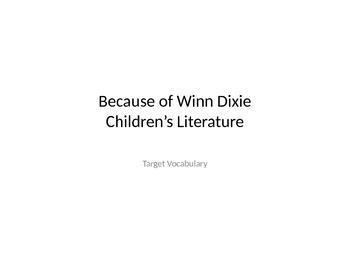 4th Grade Journeys Lesson 1 Because of Winn Dixie Vocabula