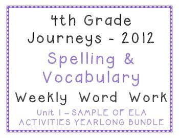 4th Grade Journeys 2012 Spelling, Vocabulary Activities SA