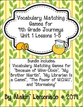 4th Grade Journeys: Unit 1 Lessons 1-5 Vocabulary Match Ga