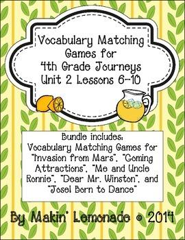 4th Grade Journeys: Unit 2 Lessons 6-10 Vocabulary Match G