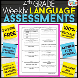 4th Grade Language Assessments or Grammar Quizzes FREE