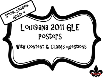 4th Grade Louisiana GLE Posters for Social Studies Black a