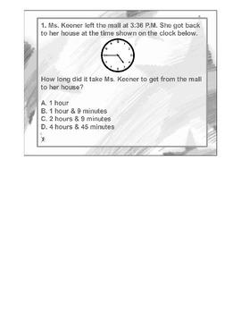 4th Grade MATH ActivInspire 5 question Assessment Elapsed