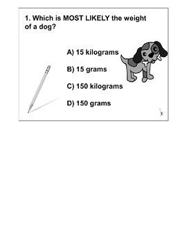 4th Grade MATH ActivInspire 5 question Assessment Weight 4