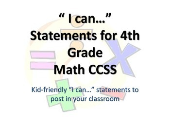 "4th Grade MATH CCSS ""I Can"" Statements {Editable PowerPoin"