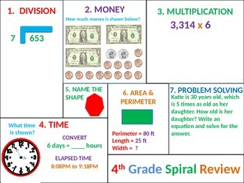 4th Grade MATH Common Core Spiral Review 6