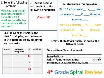 4th Grade MATH Common Core Spiral Review BUNDLE