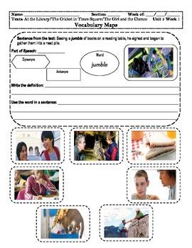 4th Grade MacGraw-Hill Reading Unit 3 Vocabulary Map, Illu