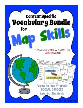 4th Grade Map Skills Content Specific Vocabulary Activity