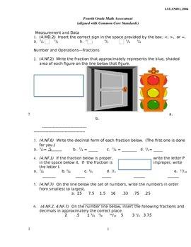 4th Grade Common Core Math Assessment [CUMULATIVE--ANSWER