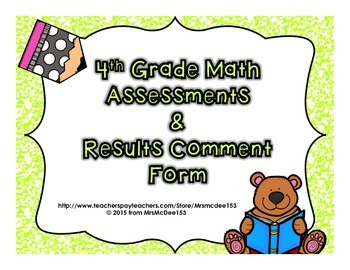 4th Grade Math Assessment & Strategy Comment Template