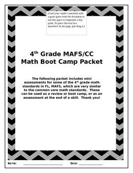 4th Grade Math Bootcamp Various Skills incl: NBT, OA, & MD