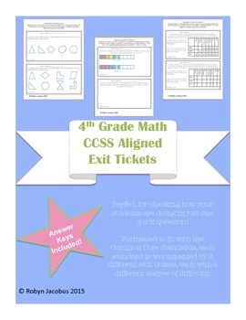 4th Grade Math CCSS Aligned Math Exit Tickets and Answer Keys