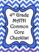 4th Grade Math Common Core Checklist - Lesson Planning For