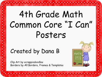 "4th Grade Math Common Core ""I Can"" Poster"