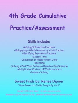 4th Grade Math Cumulative Practice/Assessment Fractions &