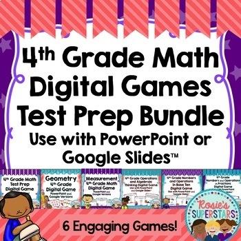 4th Grade Math Digital Games Test Prep Growing Bundle
