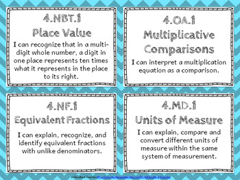 """4th Grade Math """"I CAN"""" Statements for Common Core State St"""