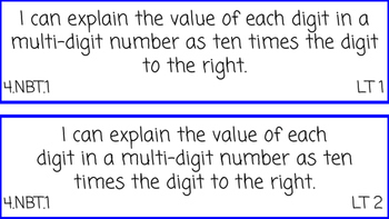 4th Grade Math I Can Statements
