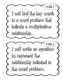 """4th Grade Math """"I Will"""" Statements"""