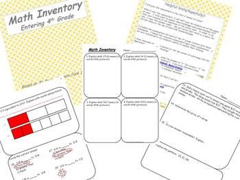 4th Grade Math Inventory/Assessment CCSS