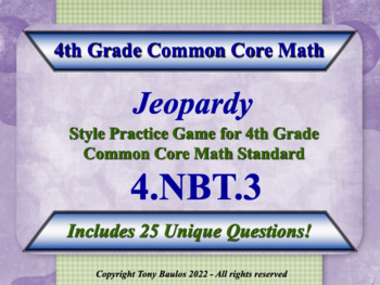 4th Grade Math Jeopardy Game - Round Multi-Digit Whole Num