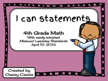 4th Grade Math Missouri Learning Standards I can Statement