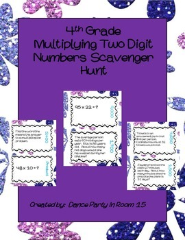 4th Grade Math Multiplying by Two Digit Numbers Scavenger Hunt