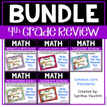 4th Grade Math Question Strips {All Domains for Common Core}