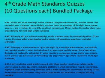 4th Grade Math Quiz Bundle 4.NBT.2,4,5 & 4.OA.3