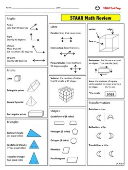 4th Grade Math STAAR Review Study Guide
