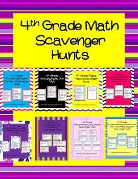 4th Grade Math Scavenger Hunts Review