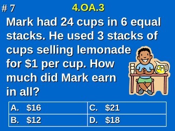 4th Grade Math - Solve multistep word problems using the f