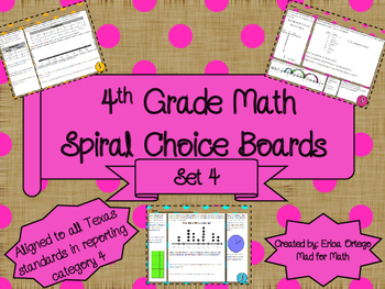 4th Grade Math Spiral Choice Boards Set 4 Over 40 Question