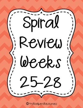 4th Grade Math Spiral Review (Weeks 25-28)