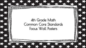 4th Grade Math Standards on Black Star Frame