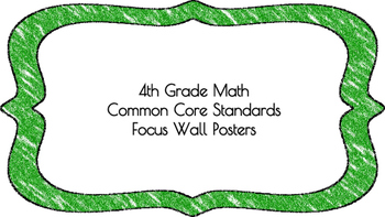 4th Grade Math Standards on Green Colored Frame